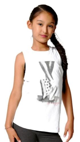 PINEAPPLE DANCEWEAR GIRLS Double Layer Top Black and White with Dance Shoe Print